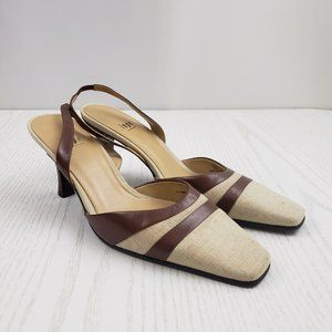 IMPO View Leather Slingback Heel Brown Tan Square